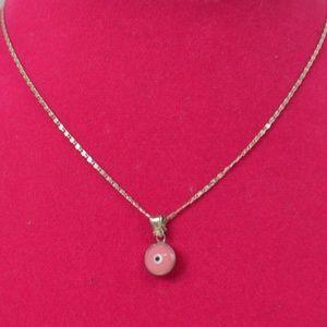 Pink Evil Eye Pendant / Necklace